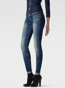 3301 Low-Rise Super Skinny Red Listing Jeans